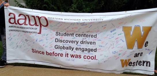 WMU-AAUP solidarity banner. (Photo by Kent Baldner.)