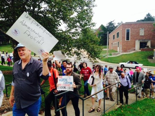 Faculty rally at WMU on September 1, 2014. (Photo by Chris Nagel.)